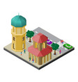 cityscape in isometric view tower town building vector image