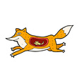 comic cartoon fox with mouse in belly vector image vector image