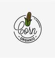 corn maize logo round linear logo corn vector image vector image
