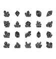 crystal black silhouette icons set vector image