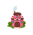 cute pink house in form of two-tiered cake with vector image vector image