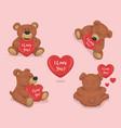 cute plush teddy bear with heart set love vector image