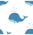 cute whale seamless pattern cartoon hand drawn vector image vector image