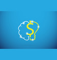 dollar symbol with brain and lightbulb vector image vector image
