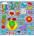 Fashion patch badge elements in cartoon 80s-90s vector image