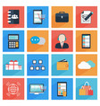 flat business and office icons with long shadow vector image