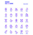 flat line gradient icons design-fitness and sports vector image
