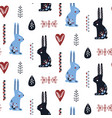folk art seamless pattern with rabbit vector image