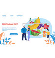fruitarian diet for adults and kids landing page vector image vector image