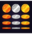 Gold silver and copper coins in different vector image vector image