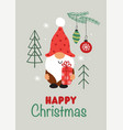 greeting card with christmas gnome and pine branch vector image vector image