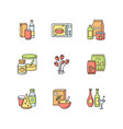 grocery sections rgb color icons set vector image