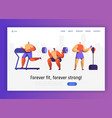 gym boxing training character for website design vector image vector image