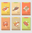 hand drawn seafood cards design with fish vector image