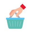 hand holding basket online shopping vector image vector image