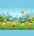 happy children play in park vector image vector image