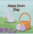 happy easter day card with rabbit and eggs vector image vector image