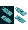high speed catamaran color isometric drawings vector image vector image