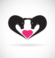 image of bull on heart shape vector image vector image