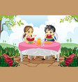 kids eating watermelon in a park vector image