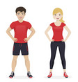 man and woman playing sport with red sportswear vector image vector image