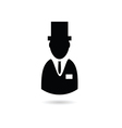 man with hat silhouette vector image