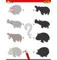 match shadows activity with funny hippos vector image vector image