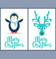 merry christmas penguin deer vector image vector image
