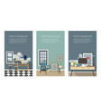 modern interior banners set kitchen living room vector image