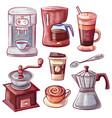moka pot and coffeemaker spoon and grinder set vector image vector image