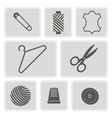 monochrome icons with sewing symbols vector image
