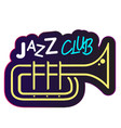 neon jazz club trumpet background image vector image vector image