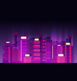 night city background flat retro style vector image