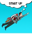 Pop Art Businessman Flying on Rocket Start Up vector image vector image