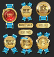 retro vintage golden badges labels and shields vector image vector image