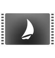 Sailing logo yacht on waves icon vector image
