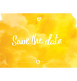 Save the date typographic yellow vector image