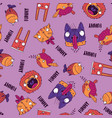 seamless pattern with animals on pink background vector image