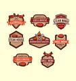 set barbecue logo label vintage steak house vector image vector image
