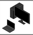 set computer monitor laptop and personal computer vector image vector image