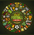 set of cartoon doodle football objects vector image vector image
