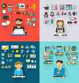 Set of professions Graphic designer babysitter vector image