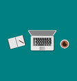 set top view laptop and pencil with notepad on vector image vector image