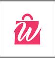 shopping bag letter w logo vector image