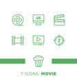 simple set cinema related line icons contains vector image