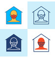 stay home icon set in line style vector image vector image