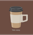 take away coffee in paper cup with lid flat vector image vector image