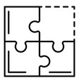 teamwork puzzle icon outline style vector image vector image