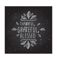 Thanksgiving label with text on chalkboard vector image