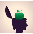 thinking concept-Human head with apple vector image vector image